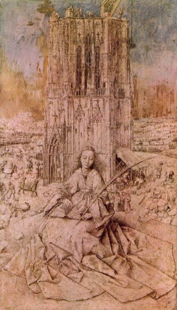 Portrait of Saint Brabara, inspiration of Rudaba