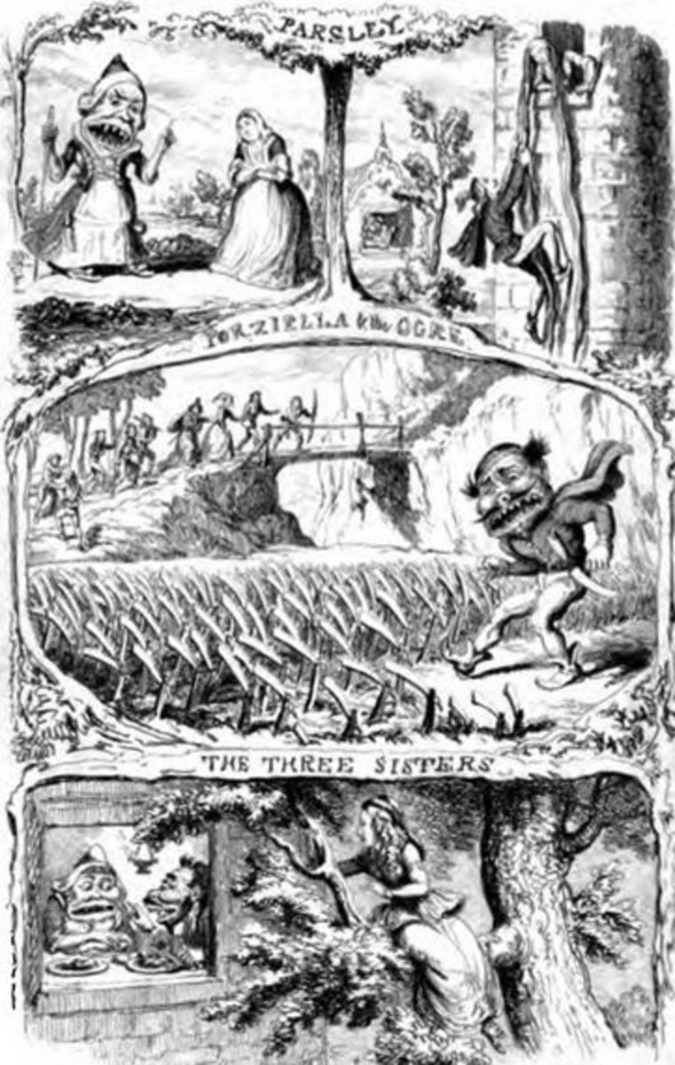 Images from three tales from Pentamerone, scenes from Petrosinella are in the first line