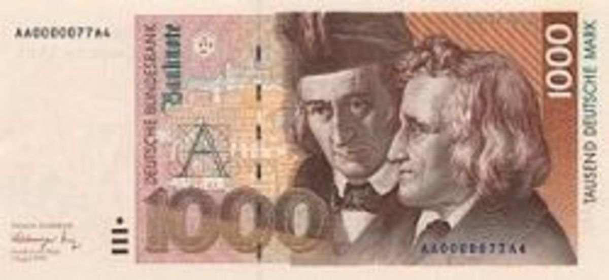 Brothers Grimm on banknote