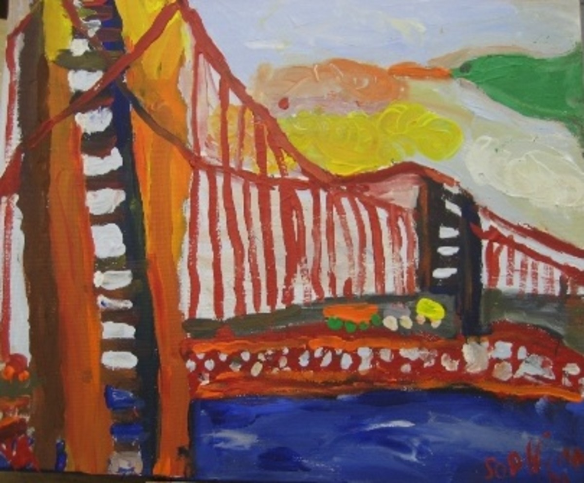 What better way to engage children then to have them paint something that is in their surroundings? Kids in the San Francisco Bay area can draw inspiration from landmarks like the Golden Gate Bridge. This painting was done in oil.