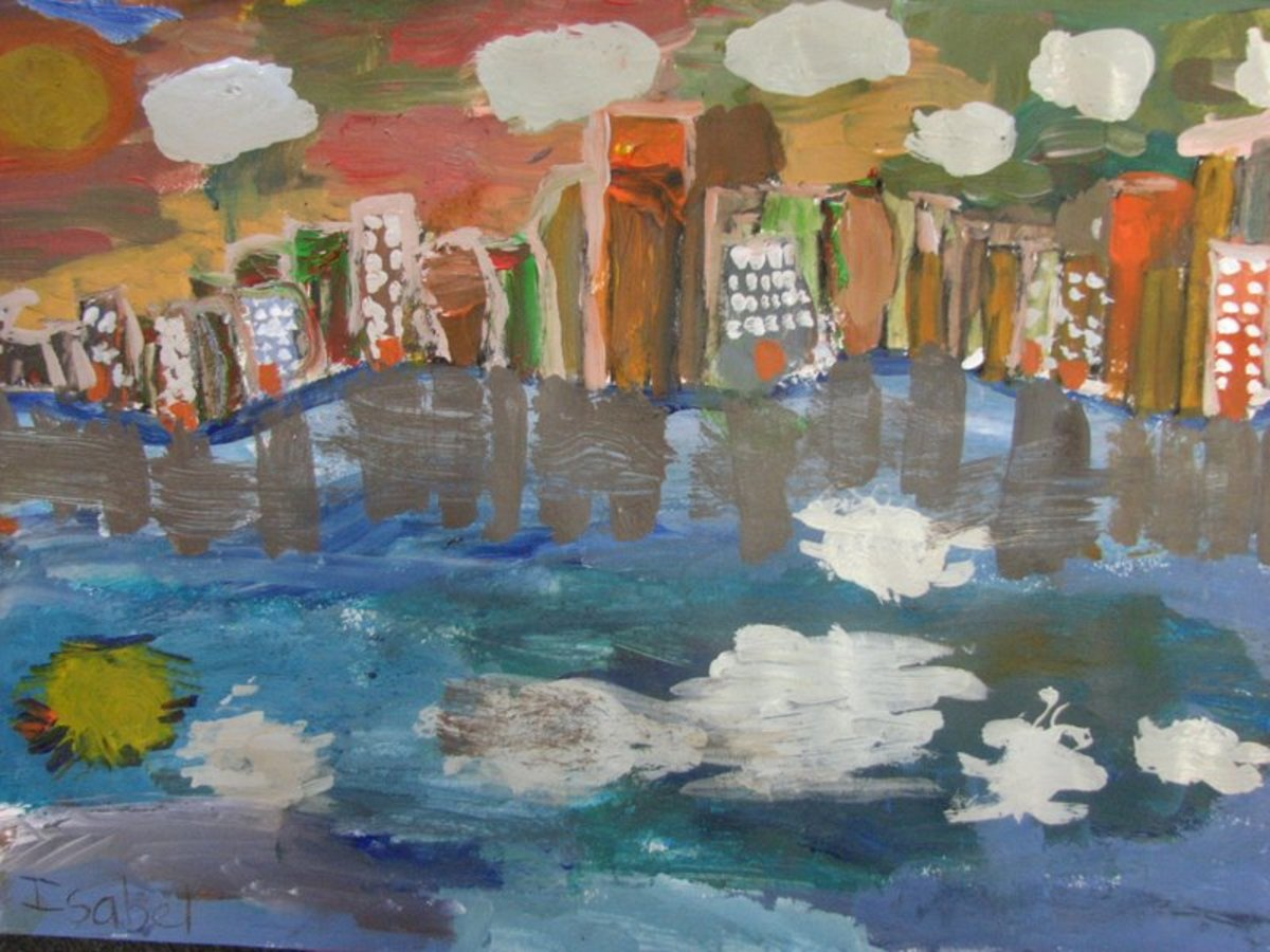 Another painting drawn with the inspiration coming from a local site - the San Francisco Bay skyine. This childs interpretation through a painting class will be different from his or hers neighbors painting. No two paintings are alike!