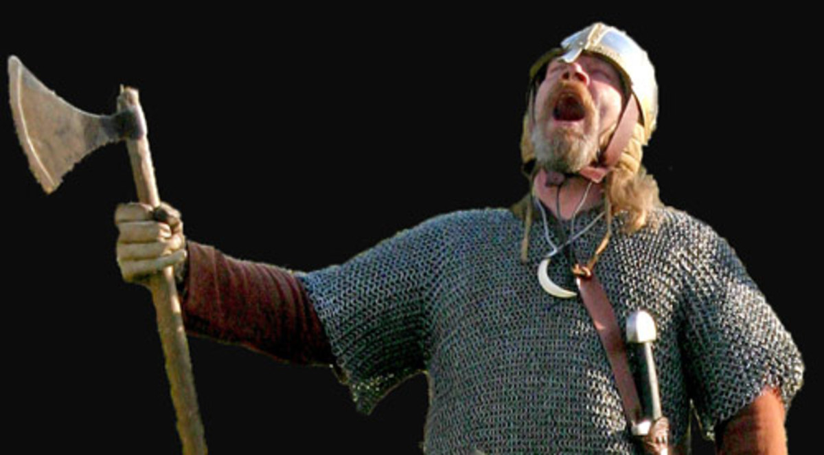 Danish huscarl in chain mailcoat yells his defiance at the foe. His death will not come cheap!