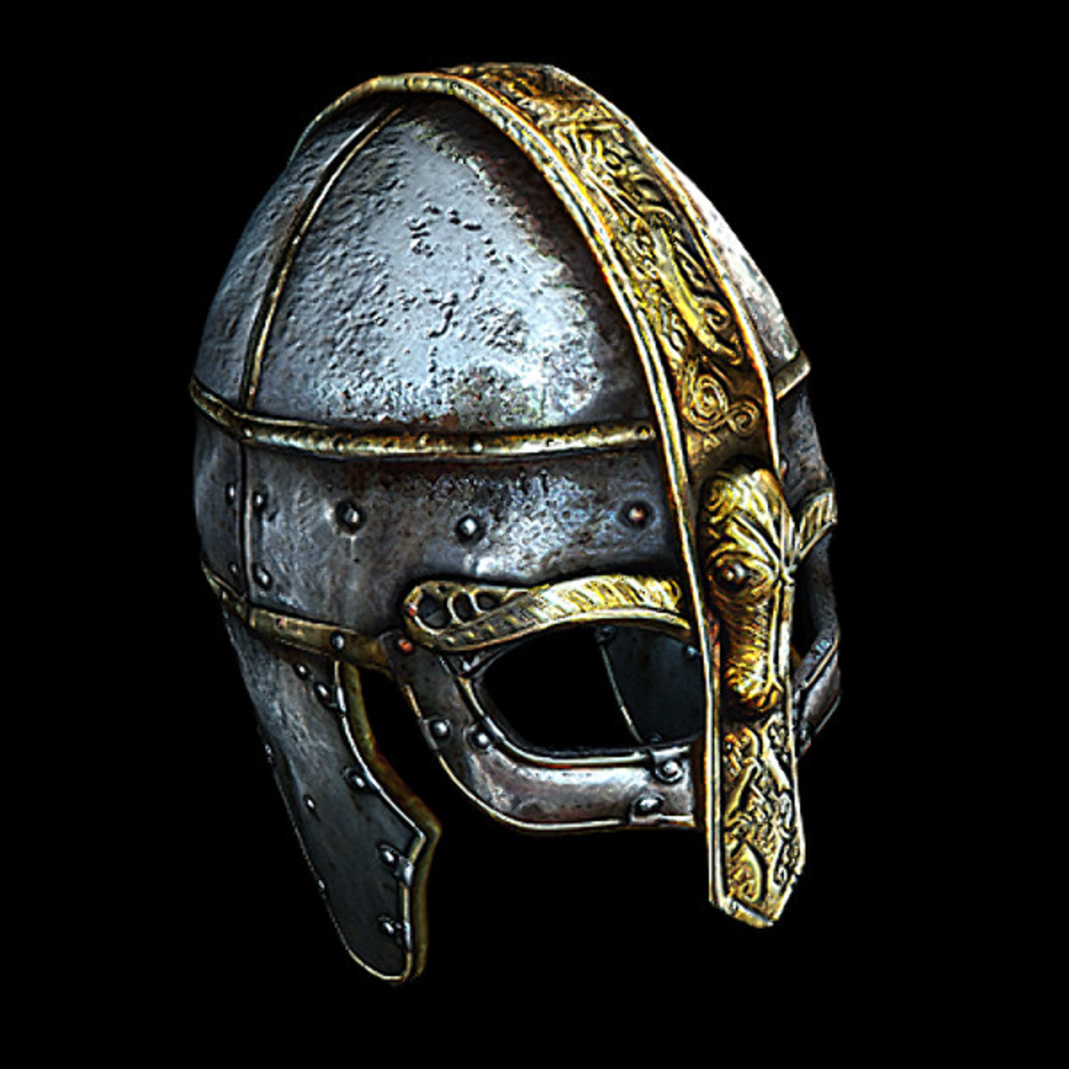A helm worthy of a king with ornate visor and noseguard, hinged ear-pieces