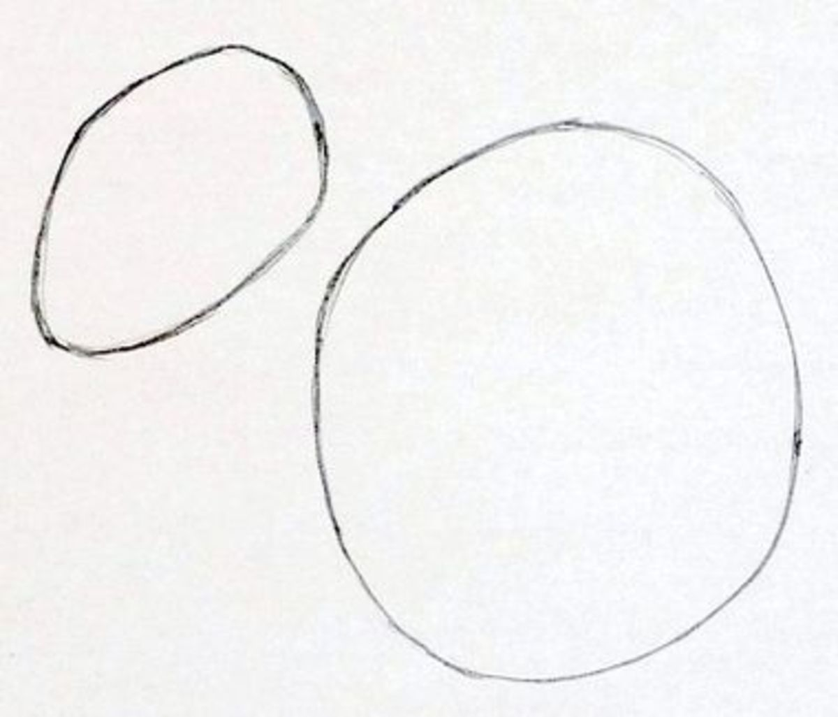 Step 1: You'll start with two circles. They are going to be squirrel's head and squirrel's body.