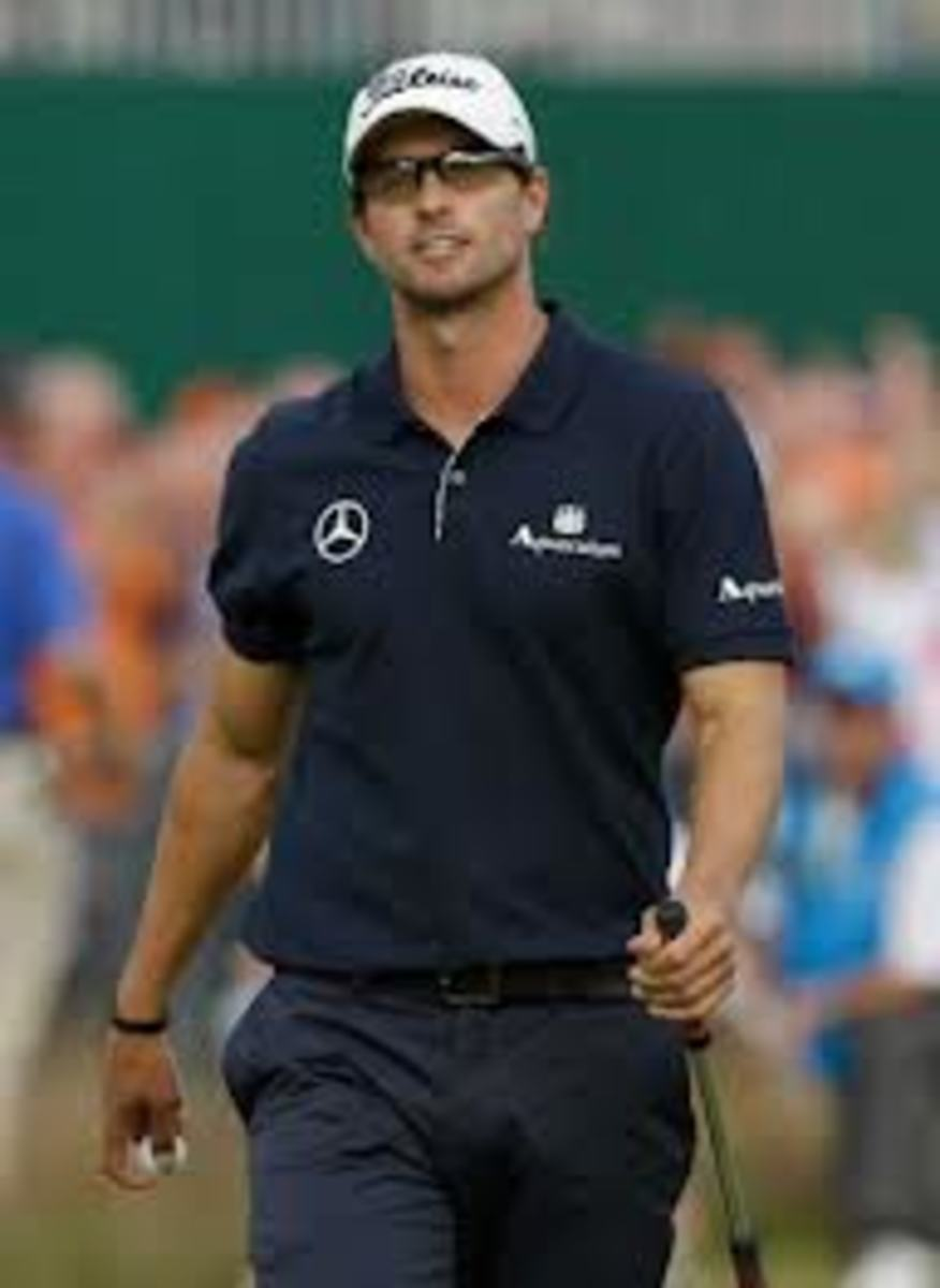 Adam Scott overpowers the field. Just his arms exude plenty of confidence on their own.
