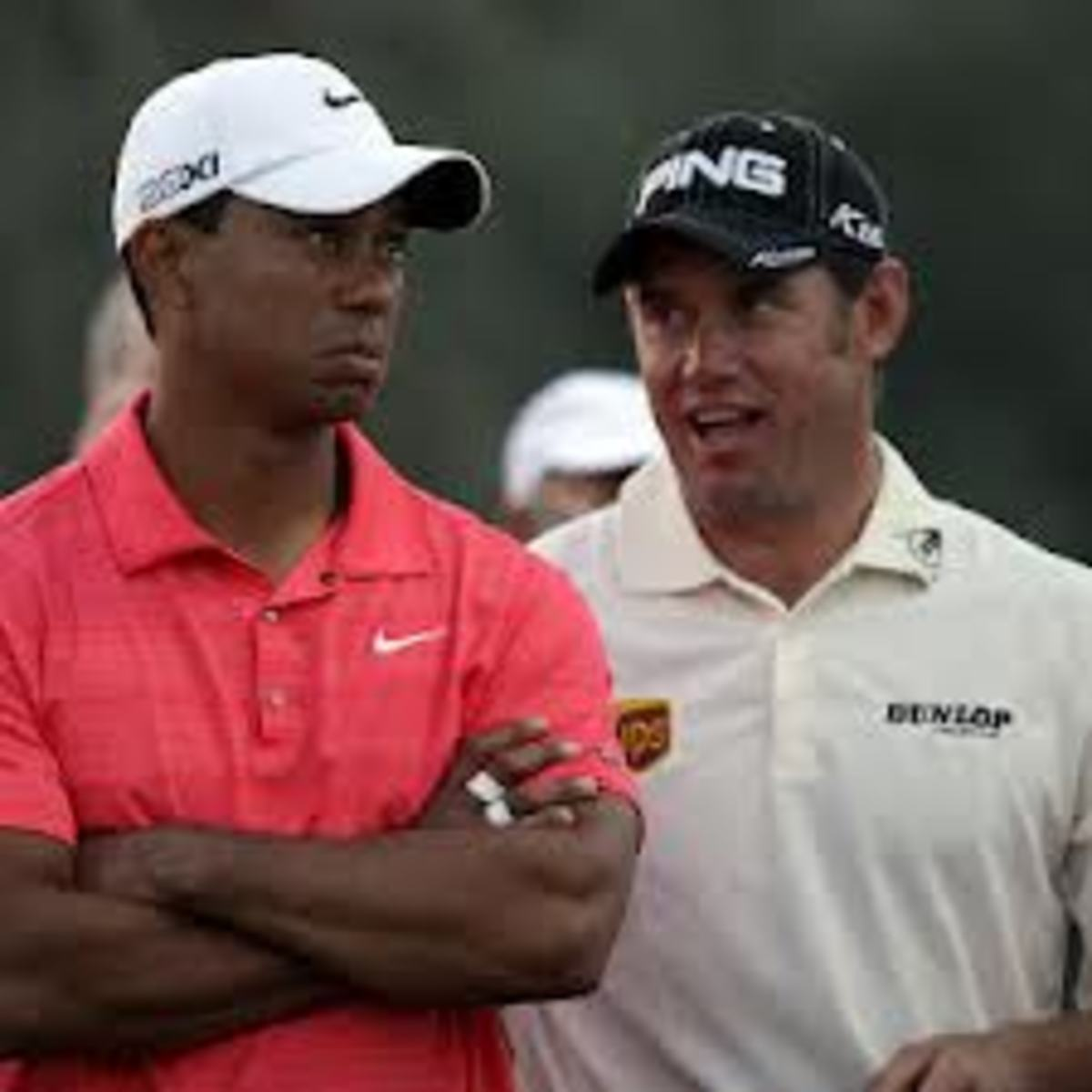 Lee Westwood asks TW something that makes tiger appear suddenly tight-lipped.