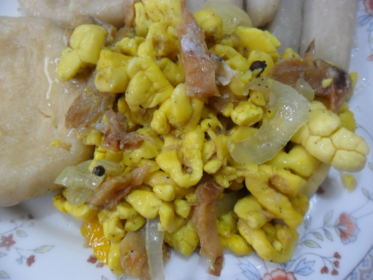 Ackee and saltfish with cornmeal dumplings and boiled green bananas