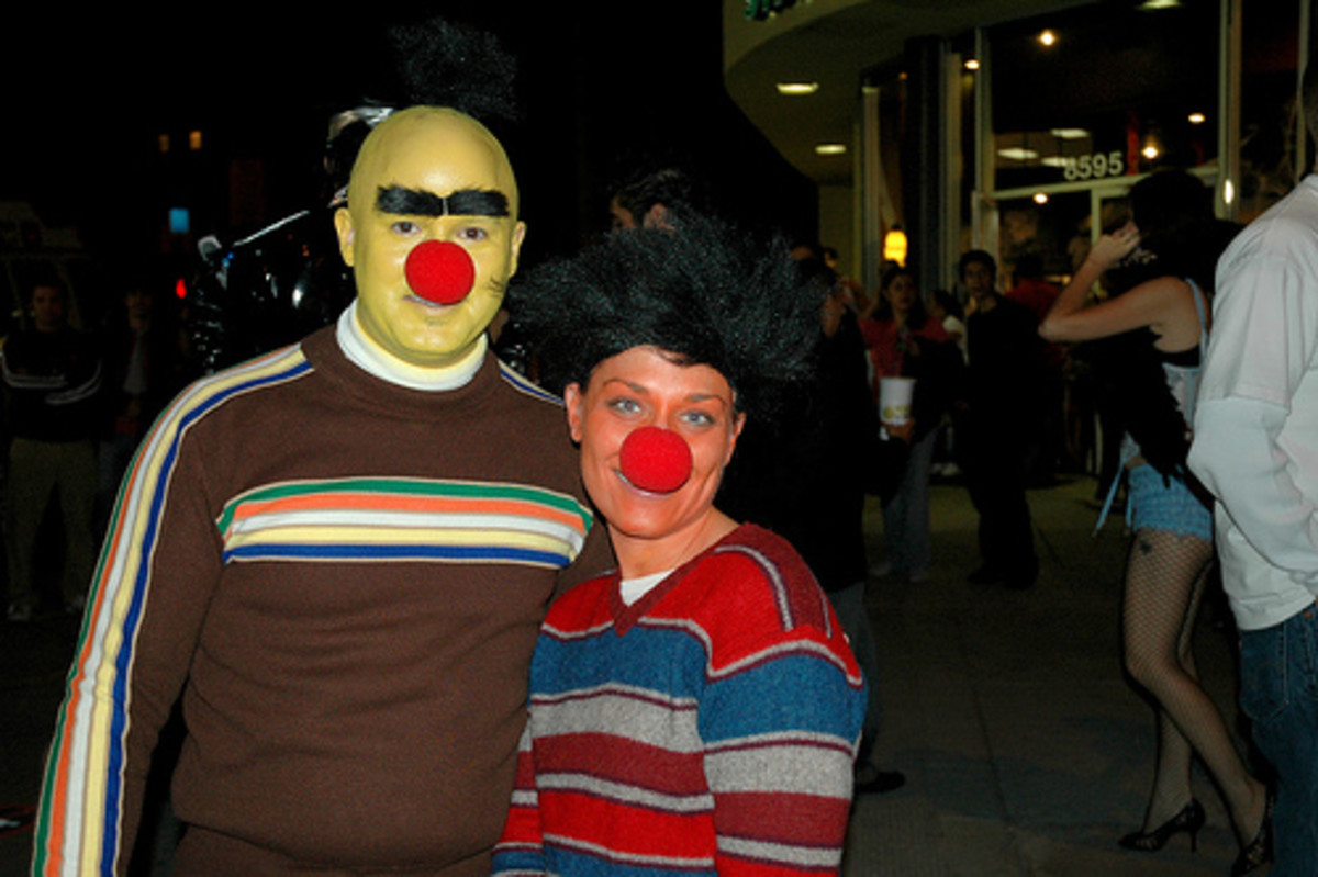 A couple with a simple but effective Halloween costume - Bert and Ernie from the Muppets