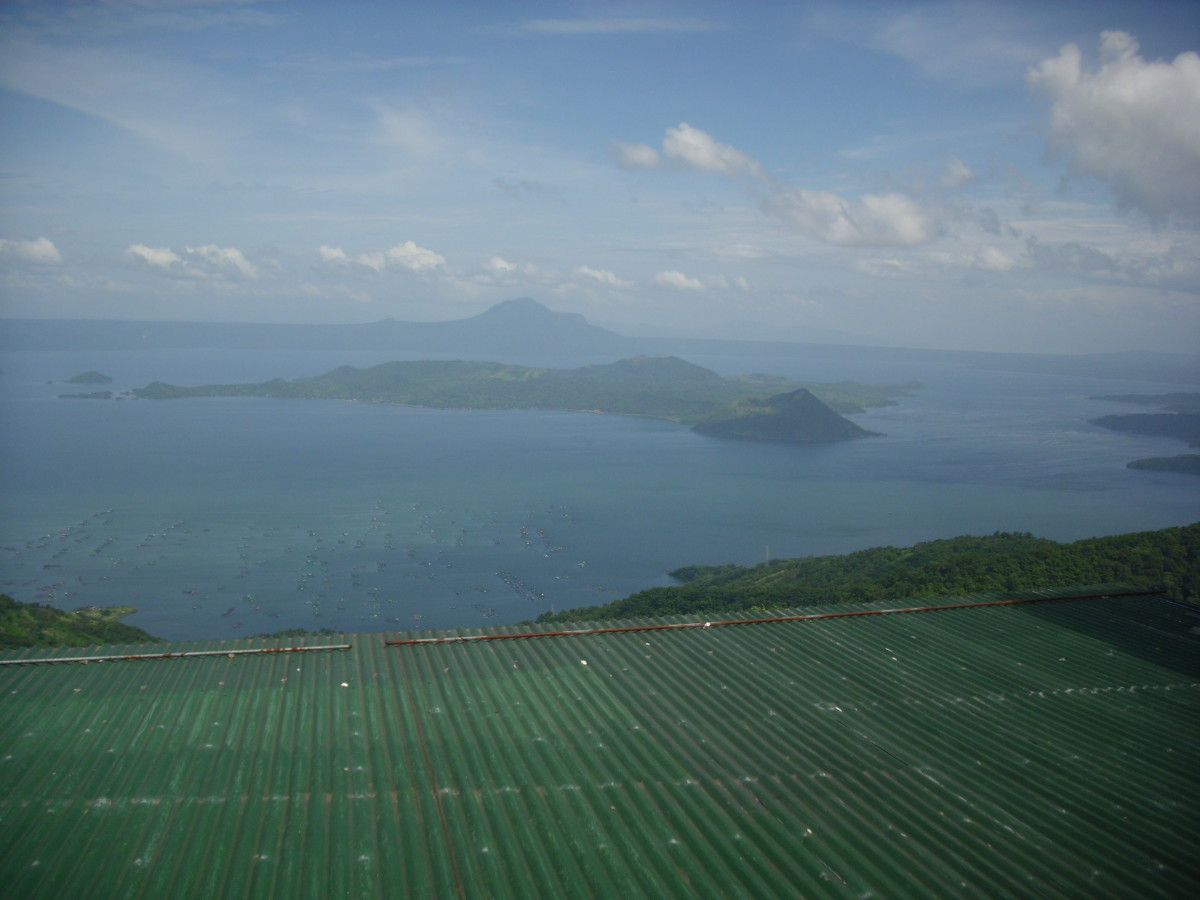 Scenic view of Taal Volcano at Taal Lake from Tagaytay City.
