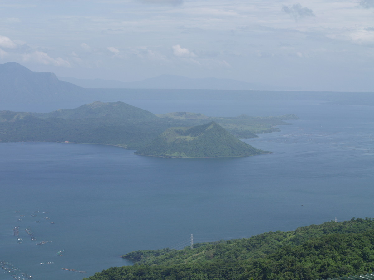 The active Taal Volcano at Taal Lake, seen from Tagaytay City, Philippines.