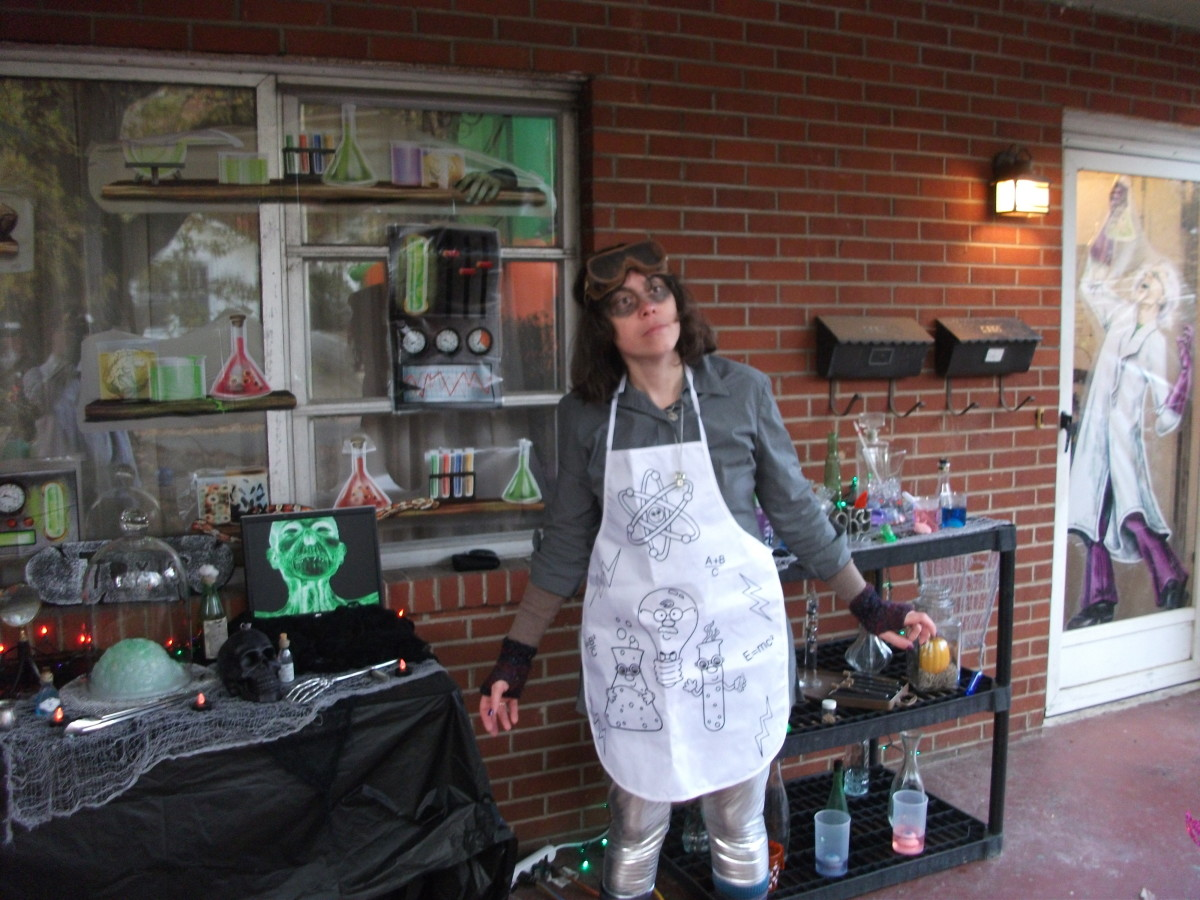 Mad science costume with a lab apron, goggles, and other details