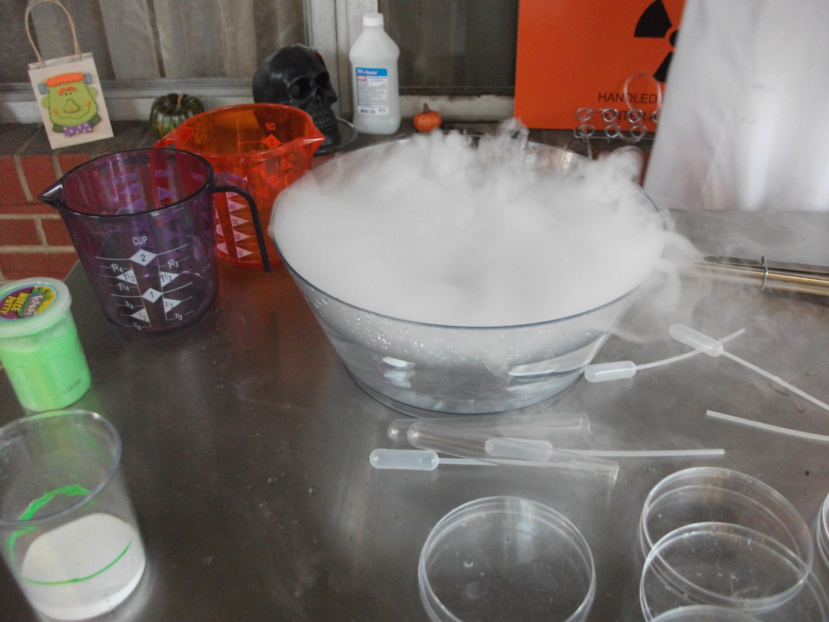 This experiment is just dry ice and dish liquid in water.
