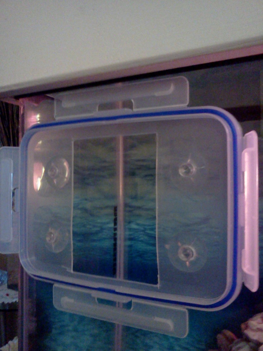 Face plate (lid) test mounted against outside of aquarium. Fits nice and tight against the glass!