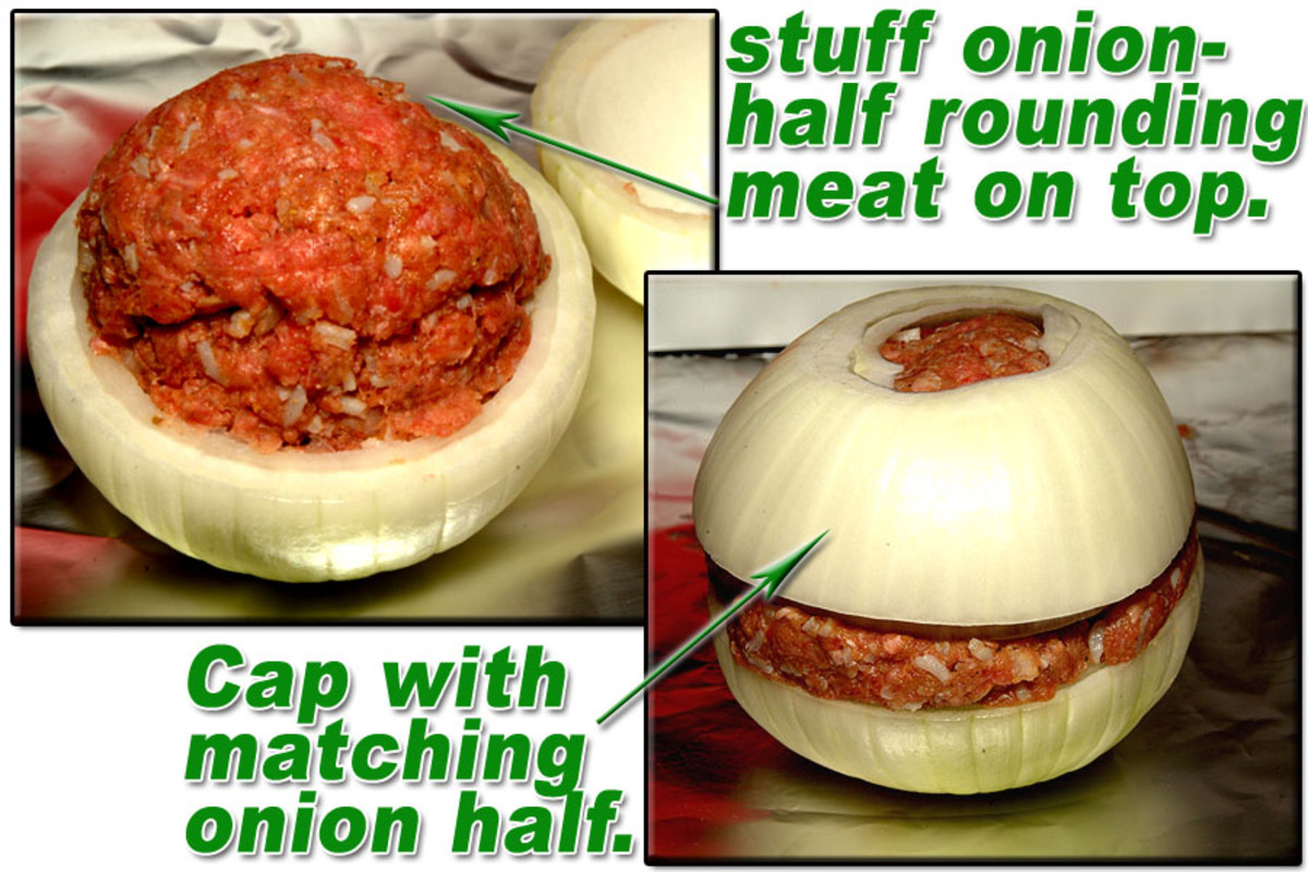 Stuff bottom half of onions with meat mixture, mounding it up to a rounded top. Cap stuffing with matching onion's top.