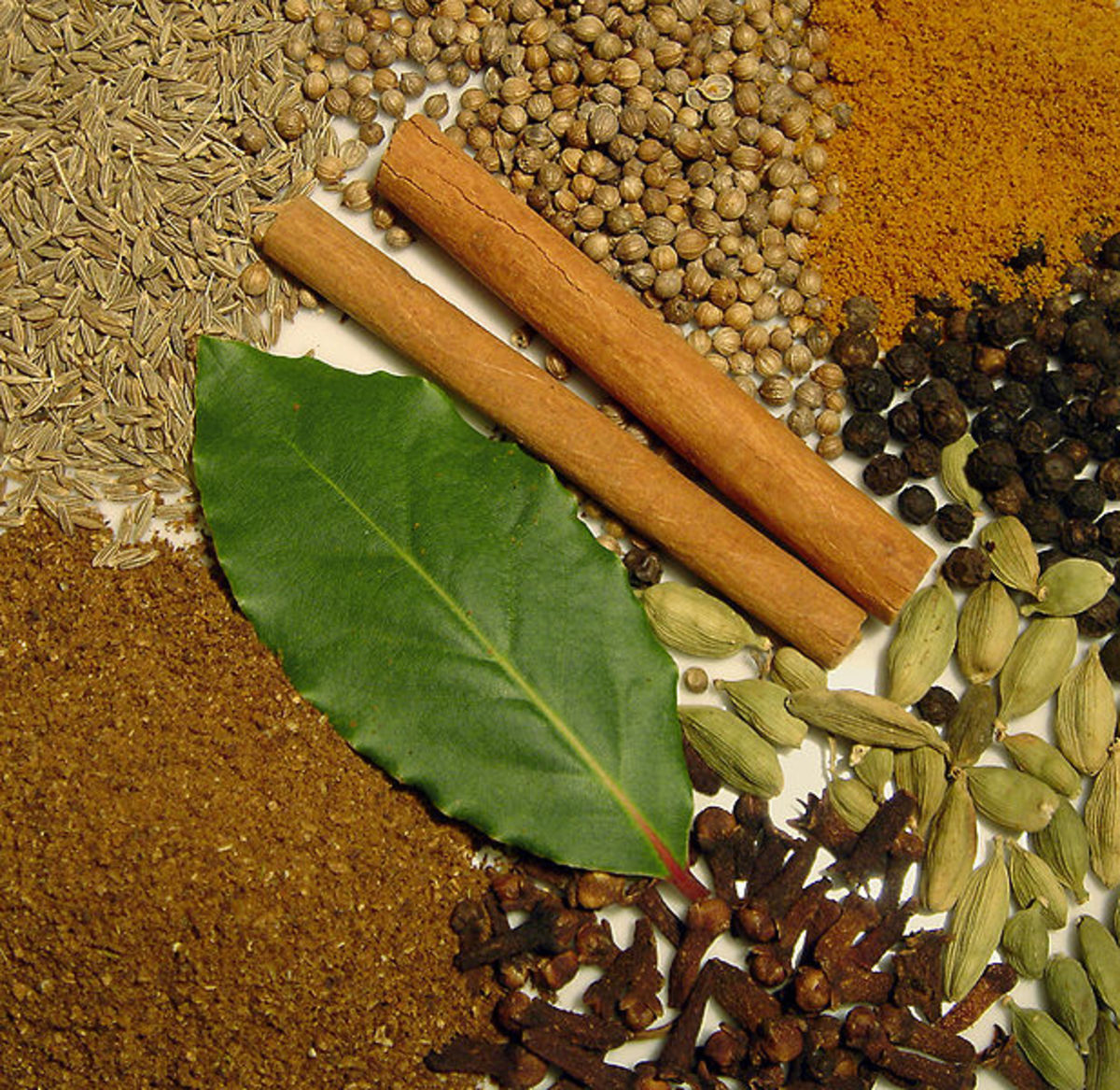 Indian spices giving magical healing - asafetida, black pepper, anise seed, cardamom, cinnamon and cloves