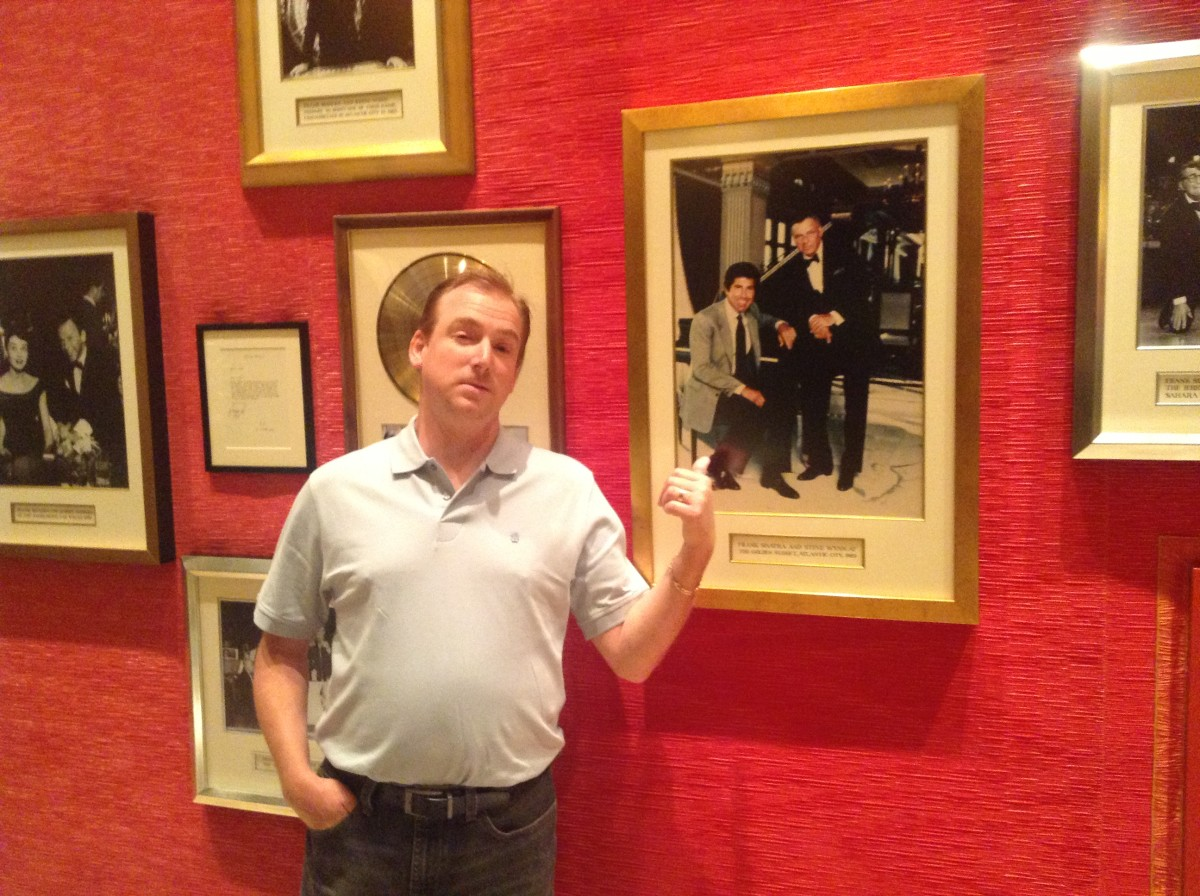 Fun at the Encore, near the Sinatra Restaurant. My son-in-law having fun with pictured tough-guy characters Steve Wynn and Frank Sinatra.