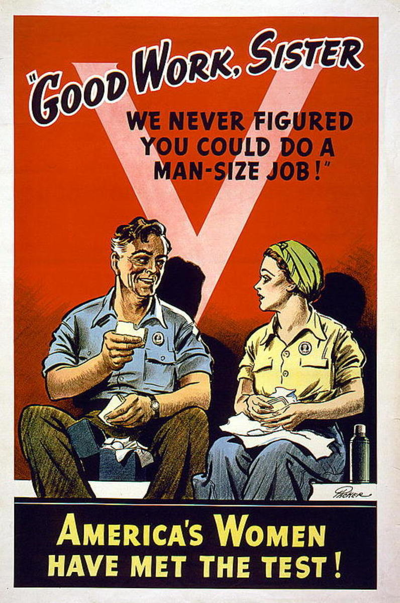 Post war poster, praising the women's work in World War Two