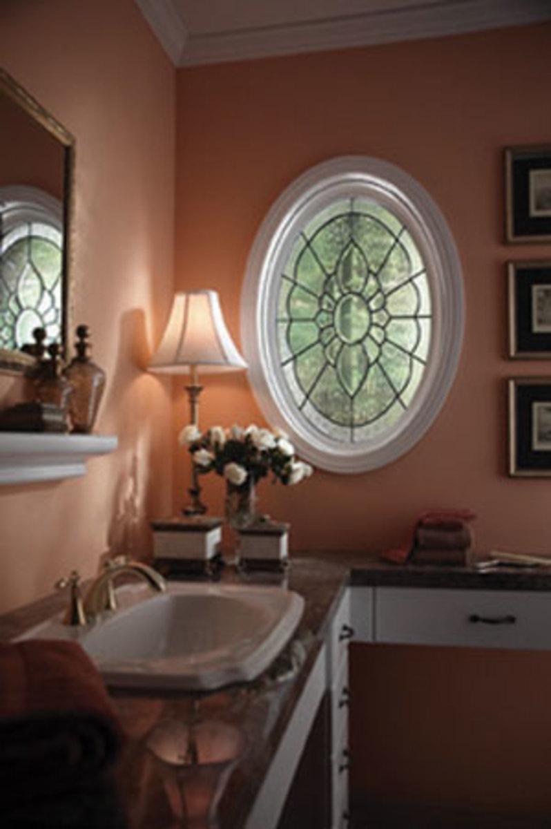 Oval Window - Single Window in Leaded Glass in a Bathroom