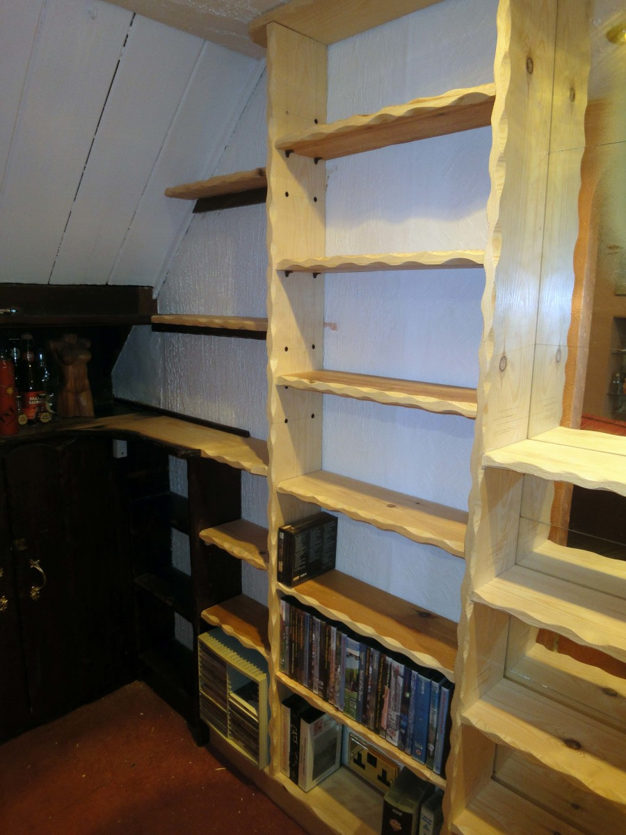 Wooden shelves hewed in 17th century style