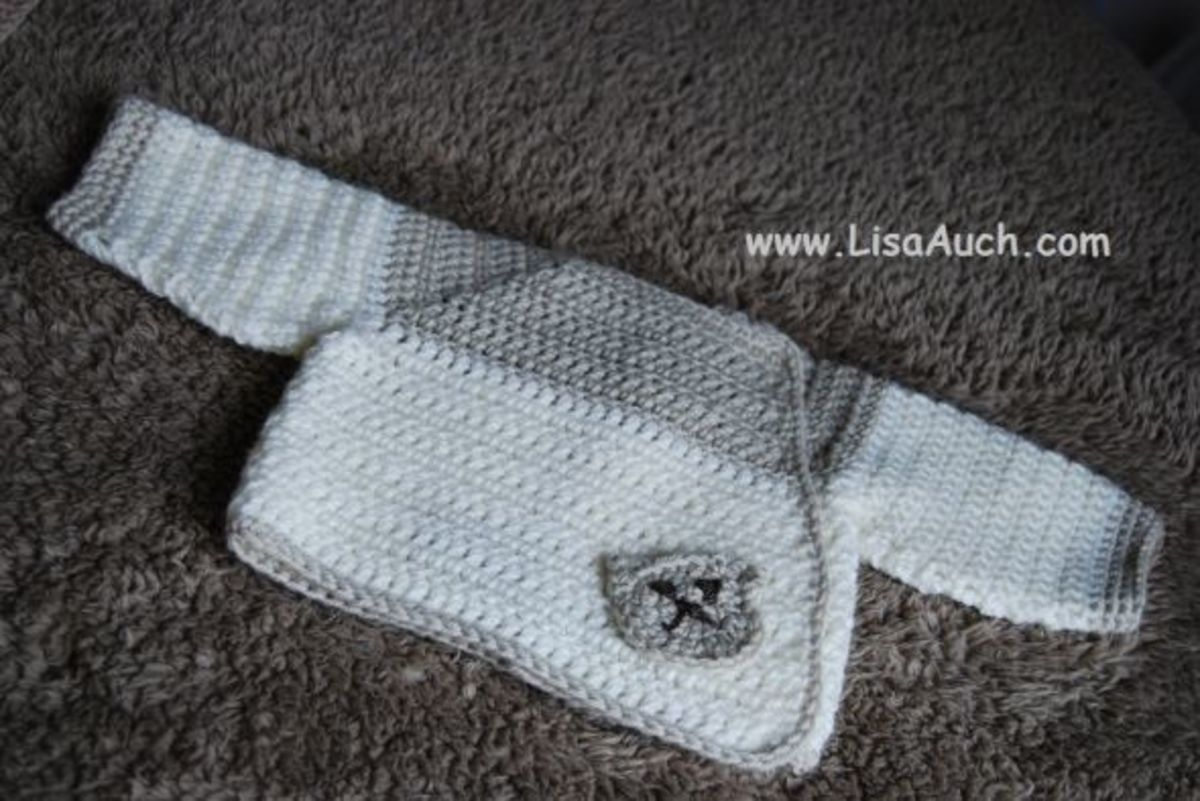 Baby Bear Crochet baby cardigan. This is made from the TOP down and all in one piece. It is a simple Beginners easy to understnd pattern.