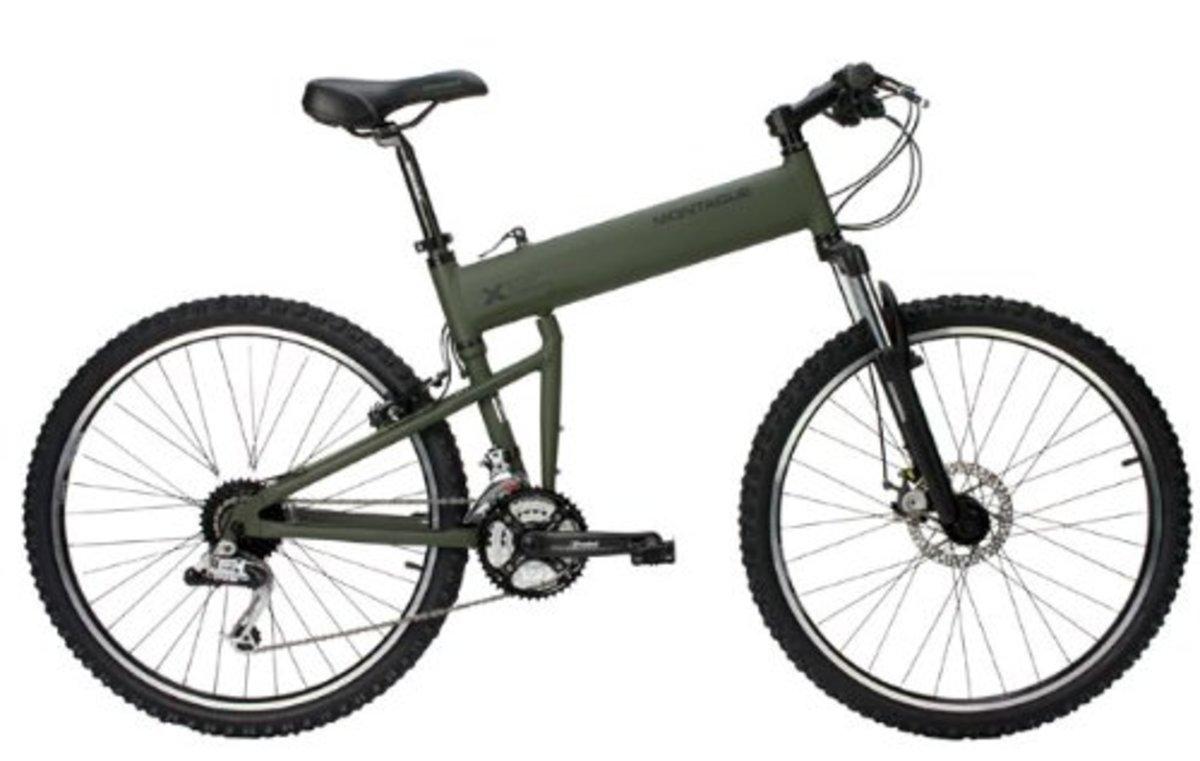 Montague Paratrooper folding mountain bike in matte cammy green, unfolded.