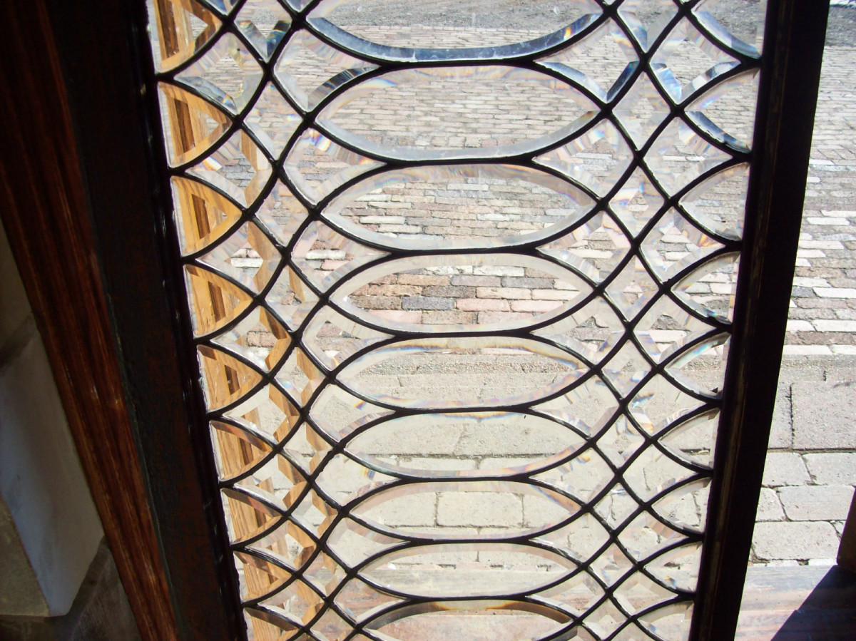beveled antique leaded glass window