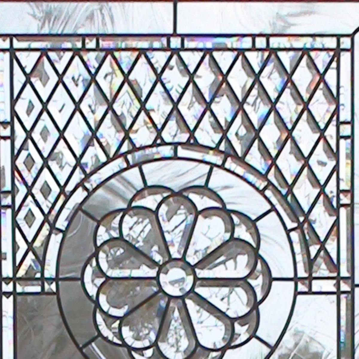 Leaded glass window with beveled glass