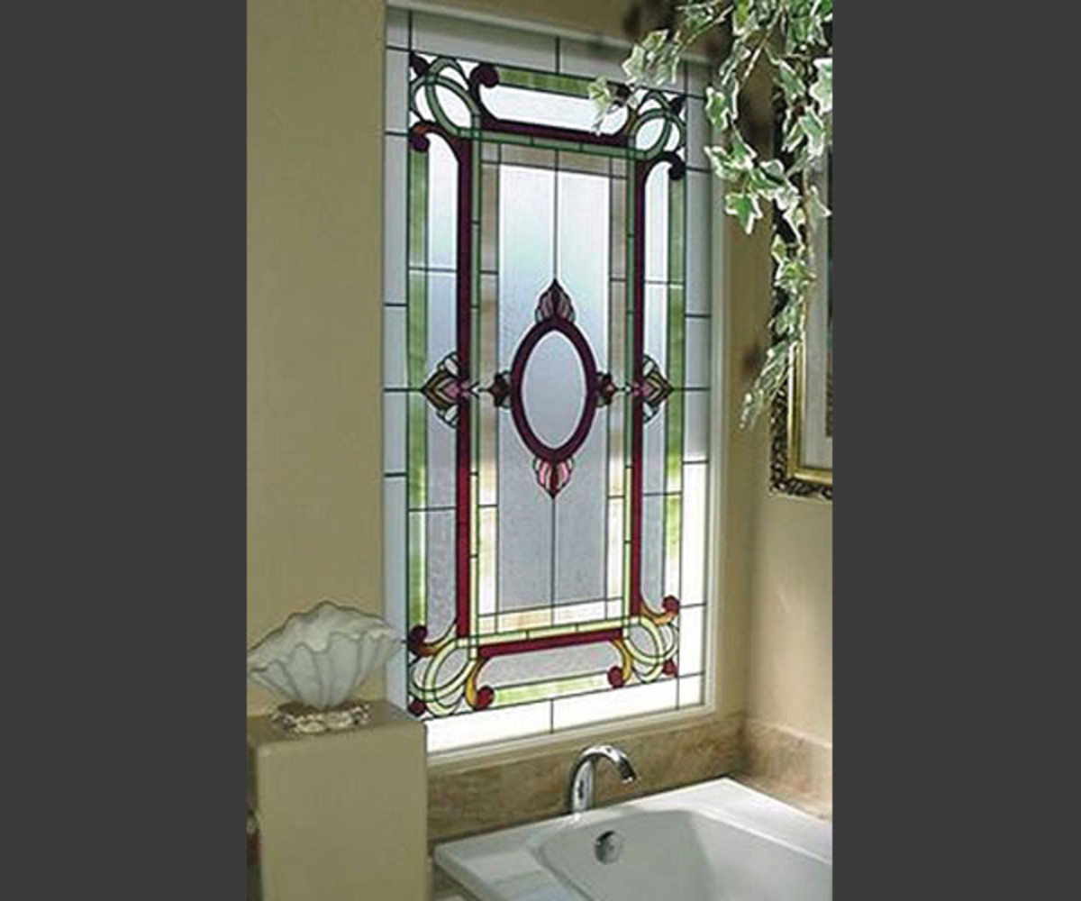 colorful glass leaded glass window in the bathroom makes a distinctive style statement