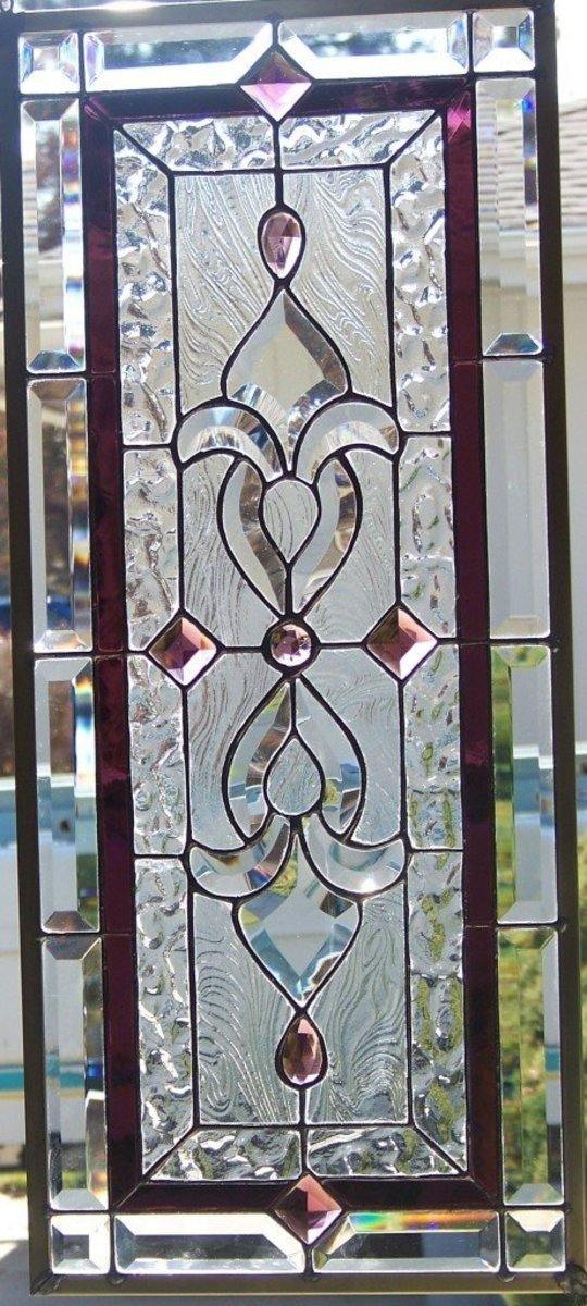 leaded glass window with a tiny amount of color