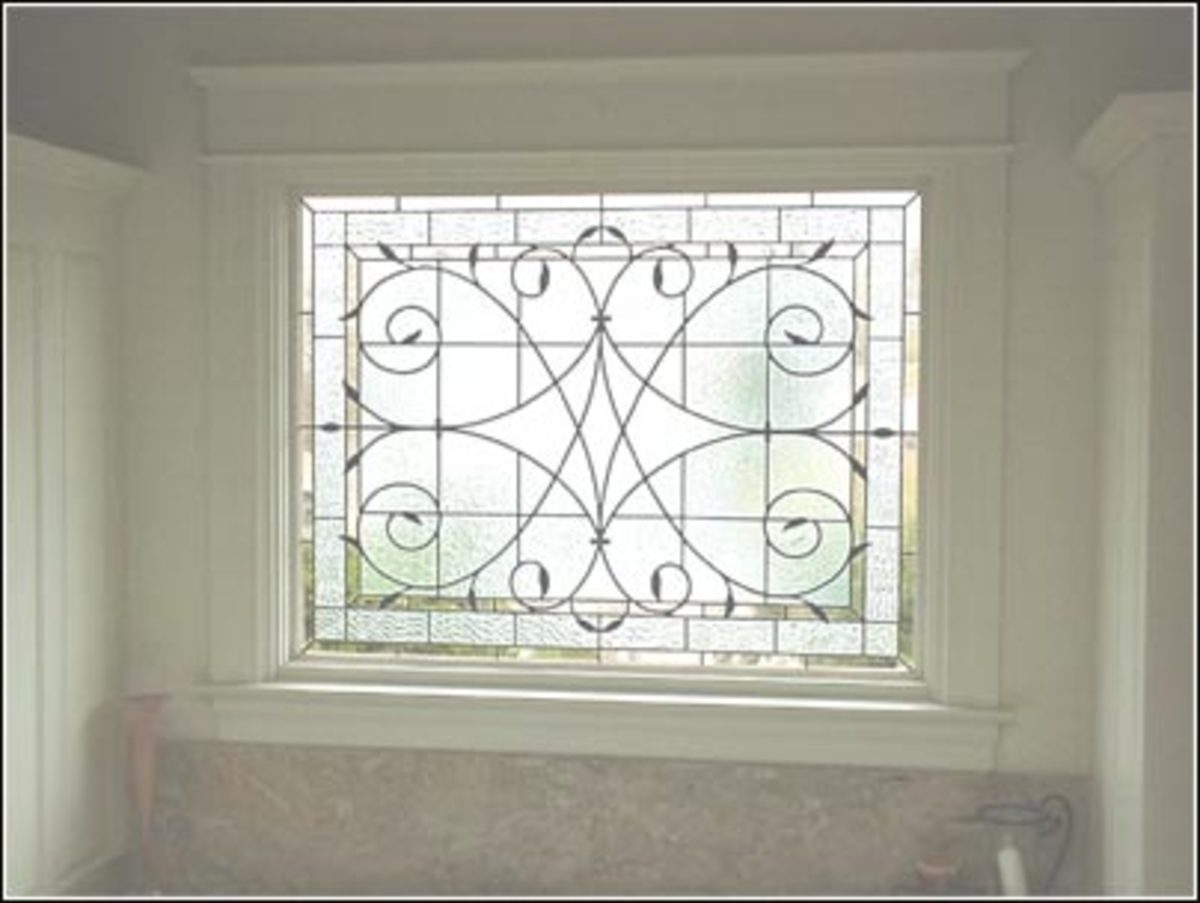 opaque leaded glass window ideal for the bathroom