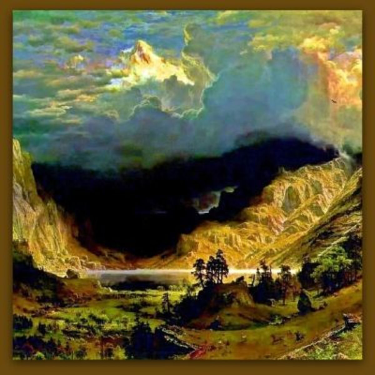 "Alfred Bierstadt:  ""Storm in the Rocky Mountains, Mt Rosalie - 1866"""