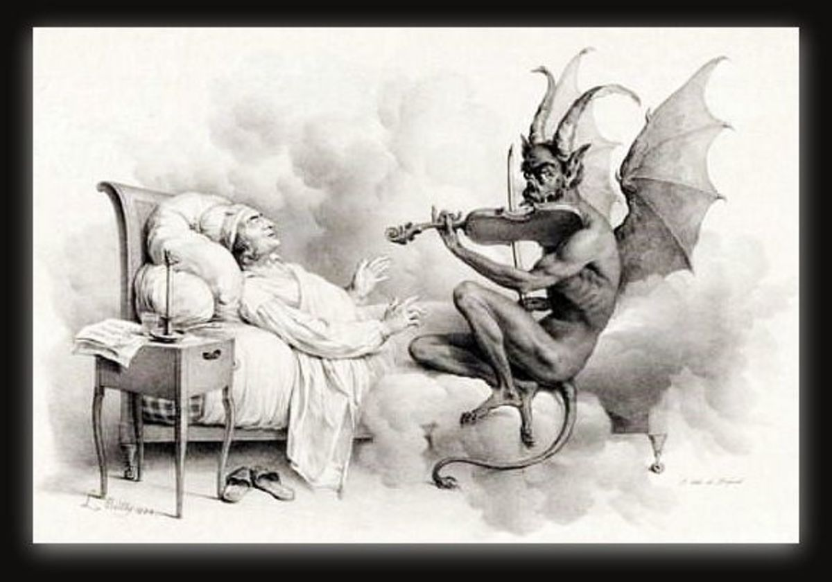 """""""Tartini's Dream"""" by Louis-Lopold Boilly (1761-1845). Illustration of the legend behind Giuseppe Tartini's """"Devil's Trill Sonata""""."""