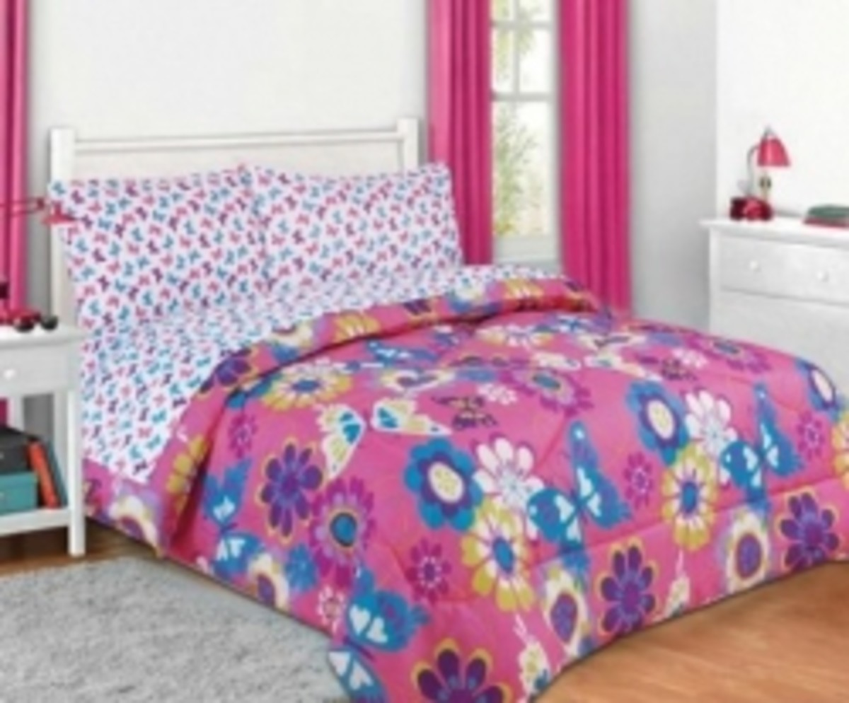 Image Credit: Amazon.com. Under $50 Pink and Purple Butterfly Bedding Set shown here is available below.