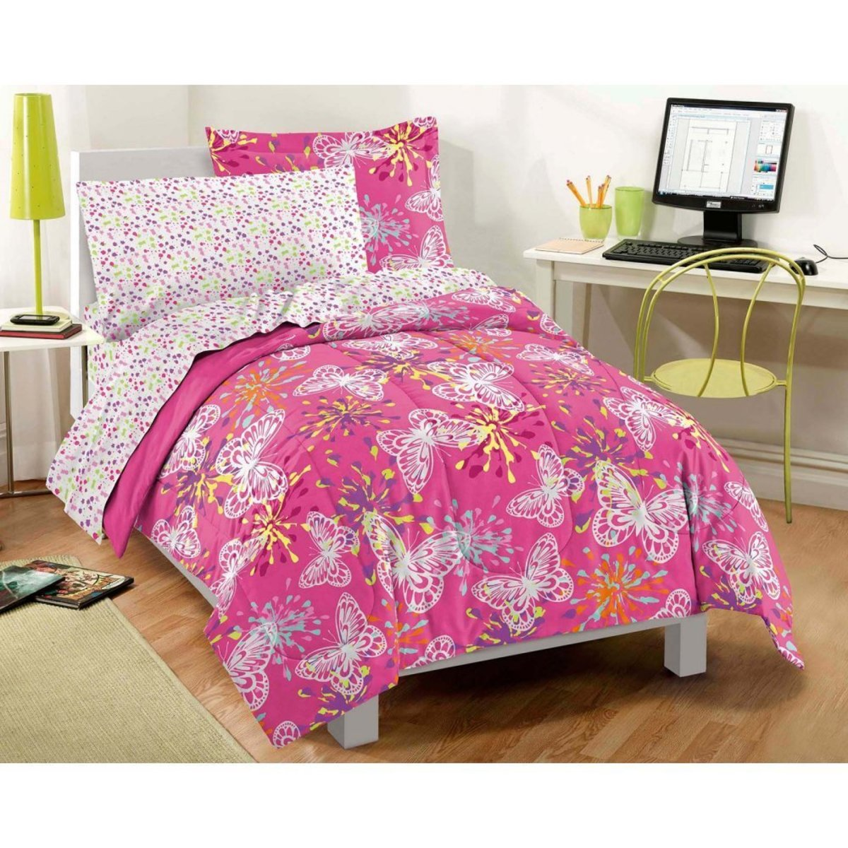 Pink and Purple Butterfly Comforter Set