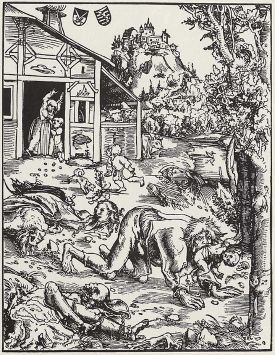1512 depiction of a werewolf by Lucas Cranach the Elder