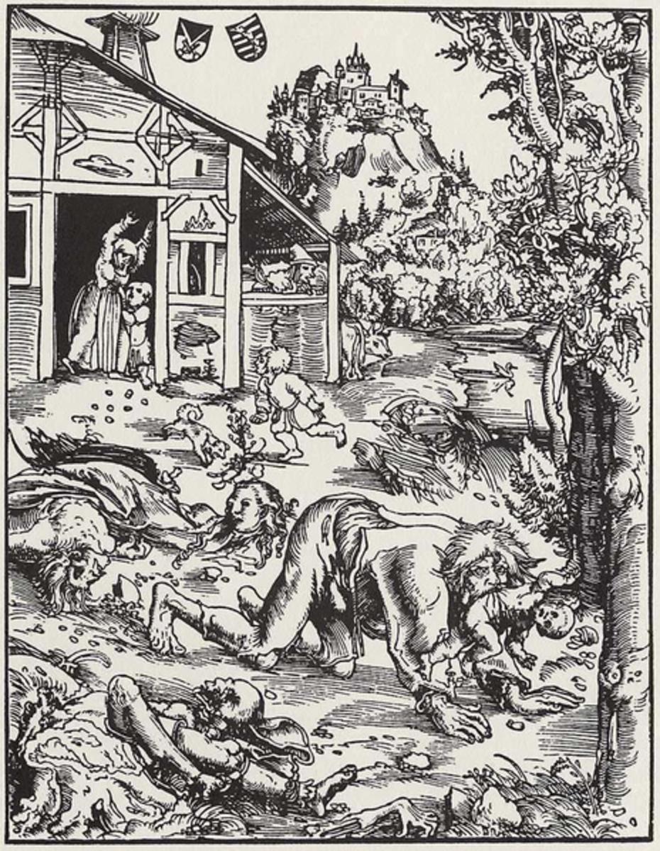 1512 depiction of a werewolf by Lucas Cranach the Elder