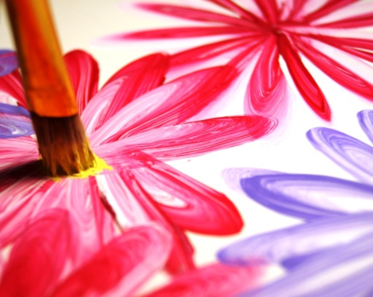 Once you have finished the flowers, practice using a scruffy-like brush to dot the centers of your flowers.