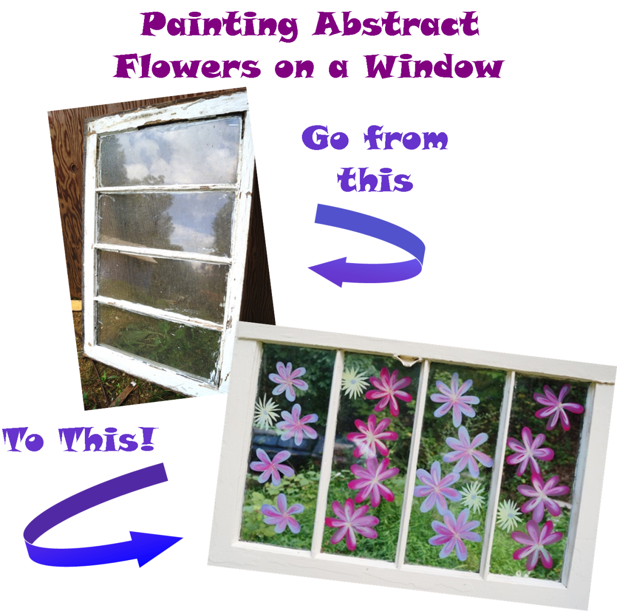 Dress up an old window with fun flowers!