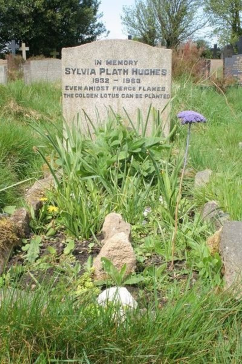 Sylvia Plath's grave in the UK with epitaph written by her husband, Ted Hughes.