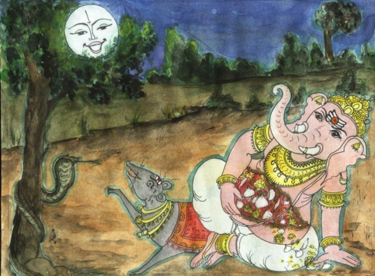 Señor Ganesha maldice la luna vano ...