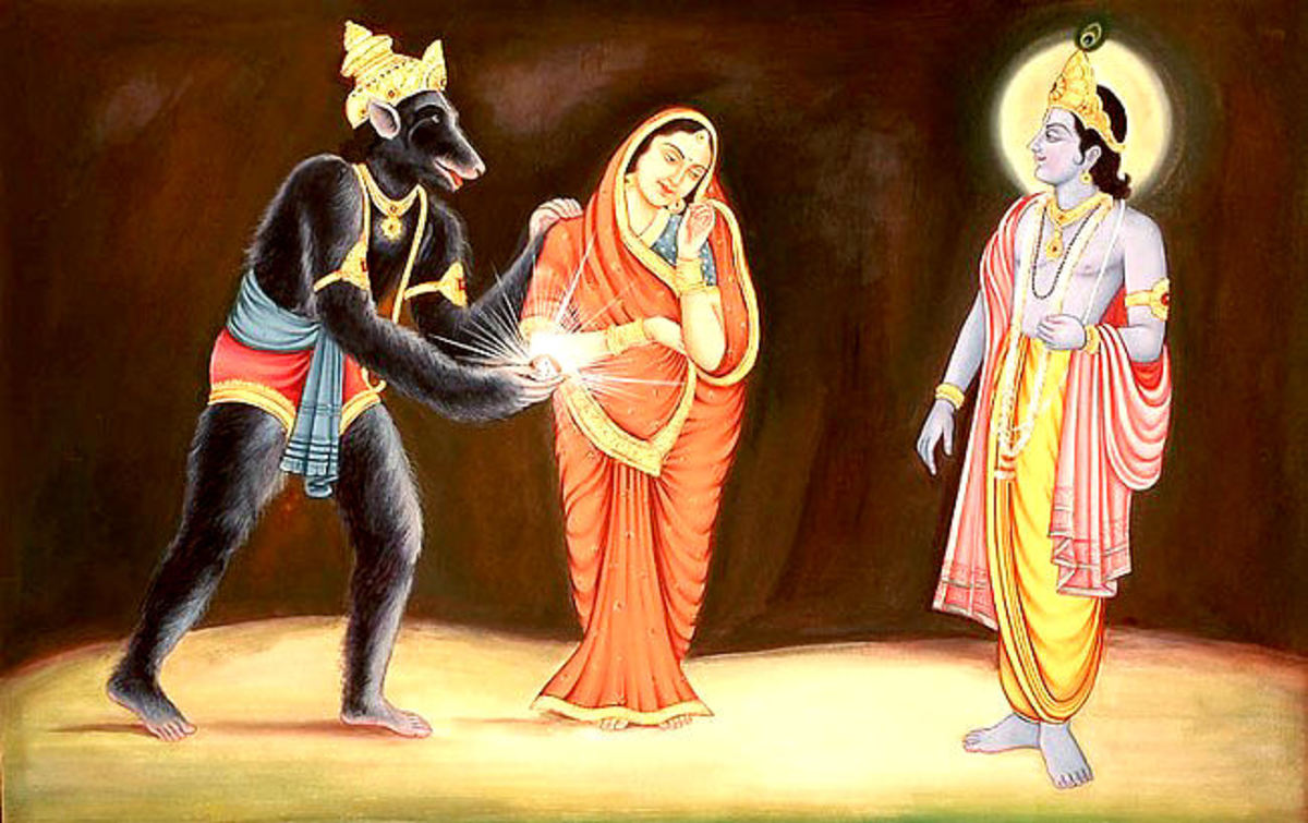 Jambavan ofrece su hija Jambavati al Señor Krishna.