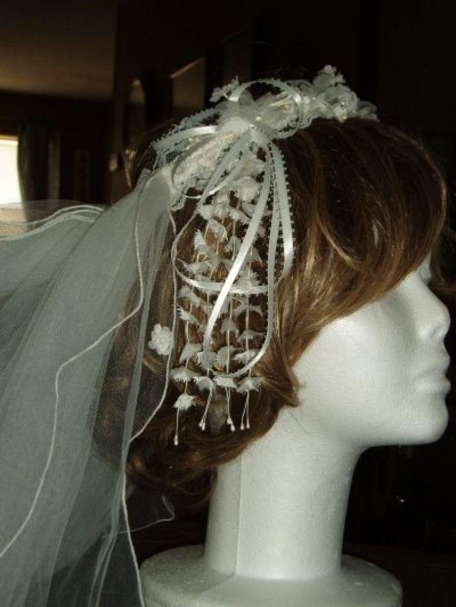 A Vintage Handmade Headpiece and Veil