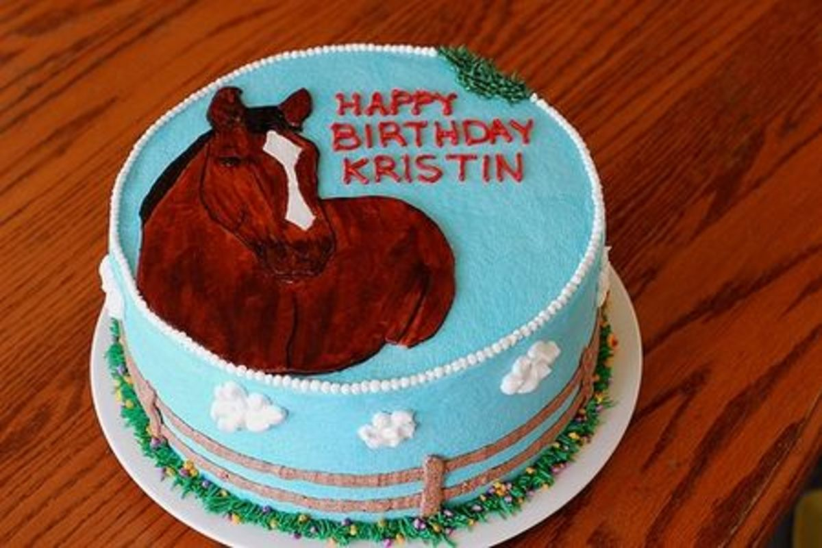 The eHow link below will give you ideas on how to bake your own horse birthday cake. I love the contrasting colors of this particular cake.