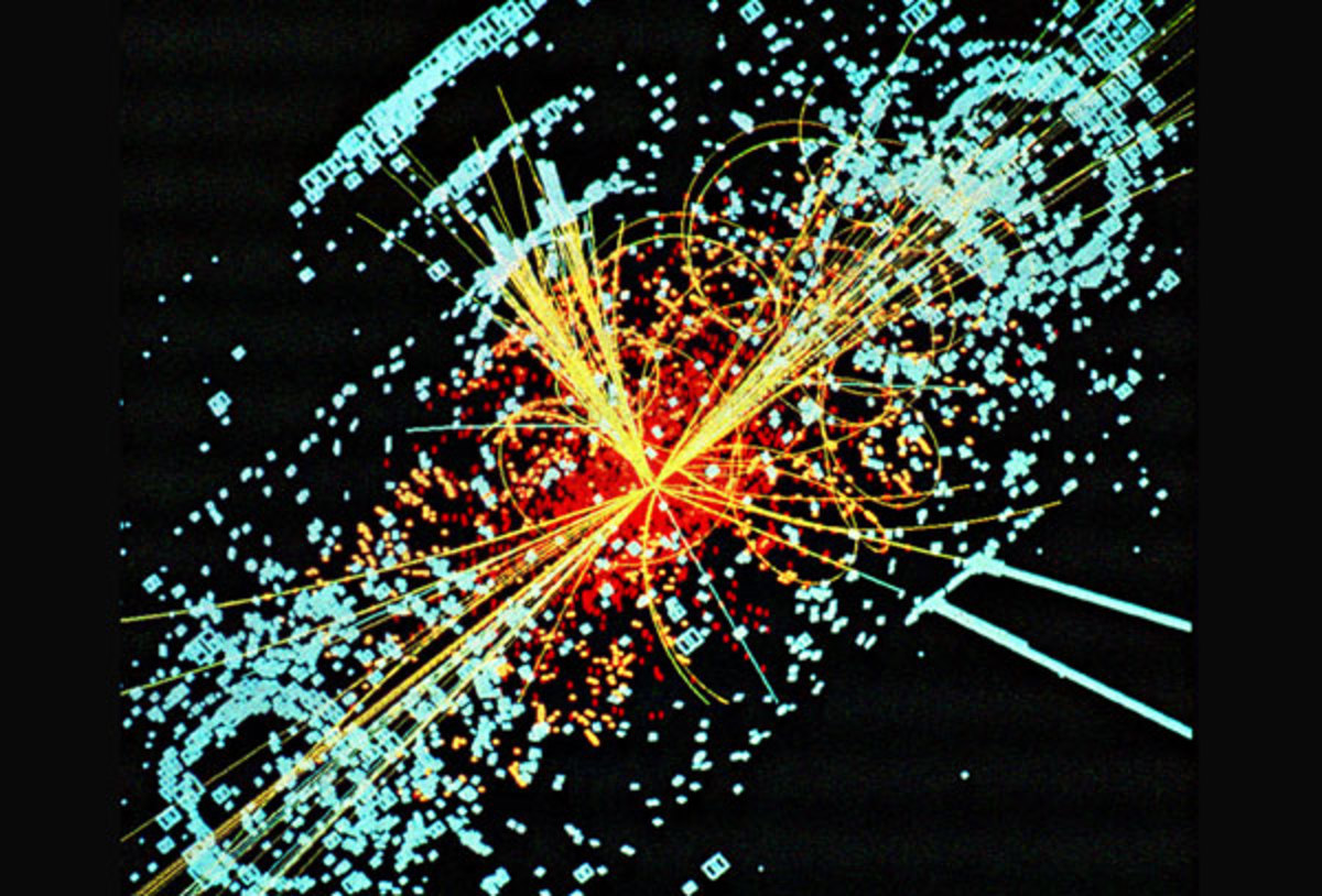 One possible signature of a Higgs boson from a simulated collision between two protons. It decays almost immediately into two jets of hadrons and two electrons, visible as lines.
