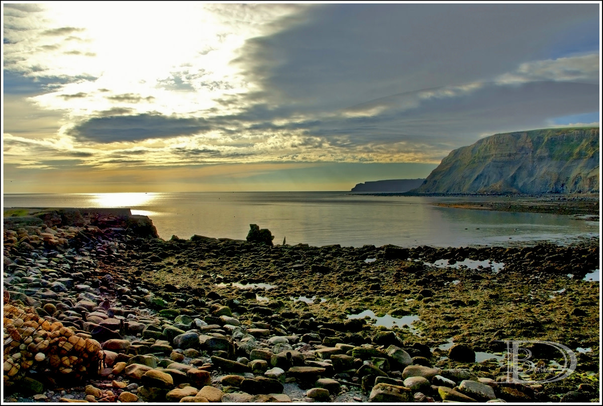 Port Mulgrave - originally known as Port Rosedale - early morning looking along the cliffs toward the sunrise
