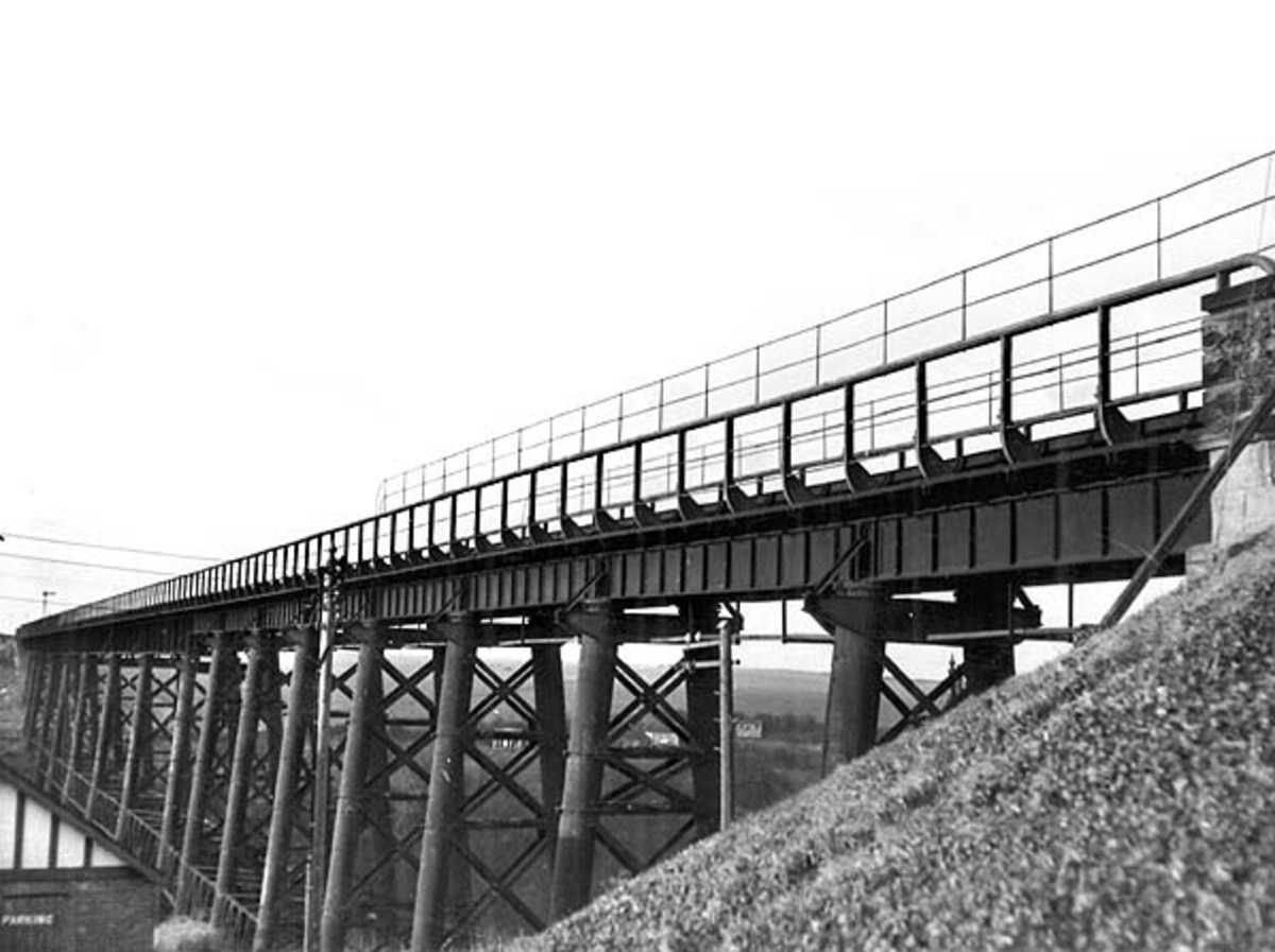 Staithes viaduct, of  tubular steel built for  the extension of the line from Loftus to Whitby - a wind gauge mounted at this end measured the force of winds off the sea. If it read too high passengers had to detrain and take the bus onward to Loftus