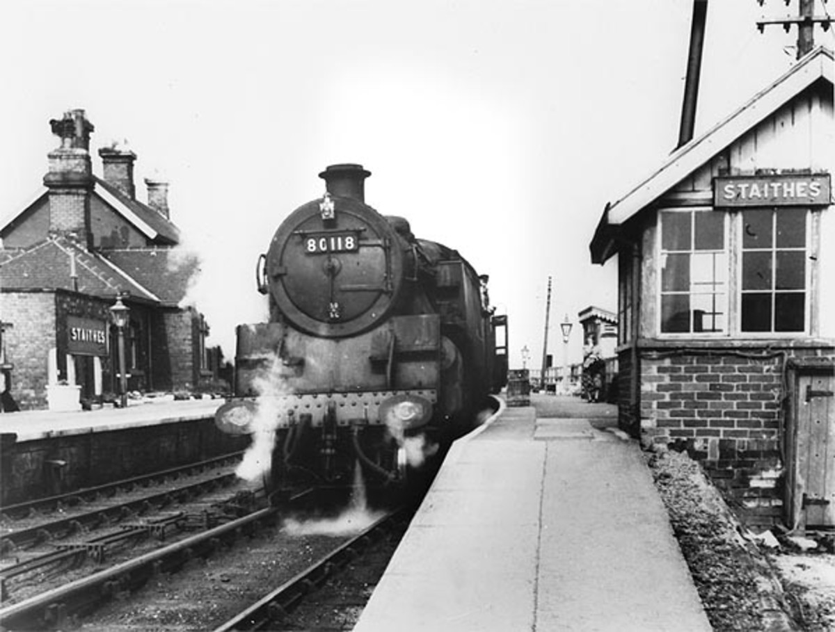 Staithes Station on last day of operation in 1958 - BR Standard Class 4 2-6-4T  80118 awaits the 'off'' towards Middlesbrough or Darlington
