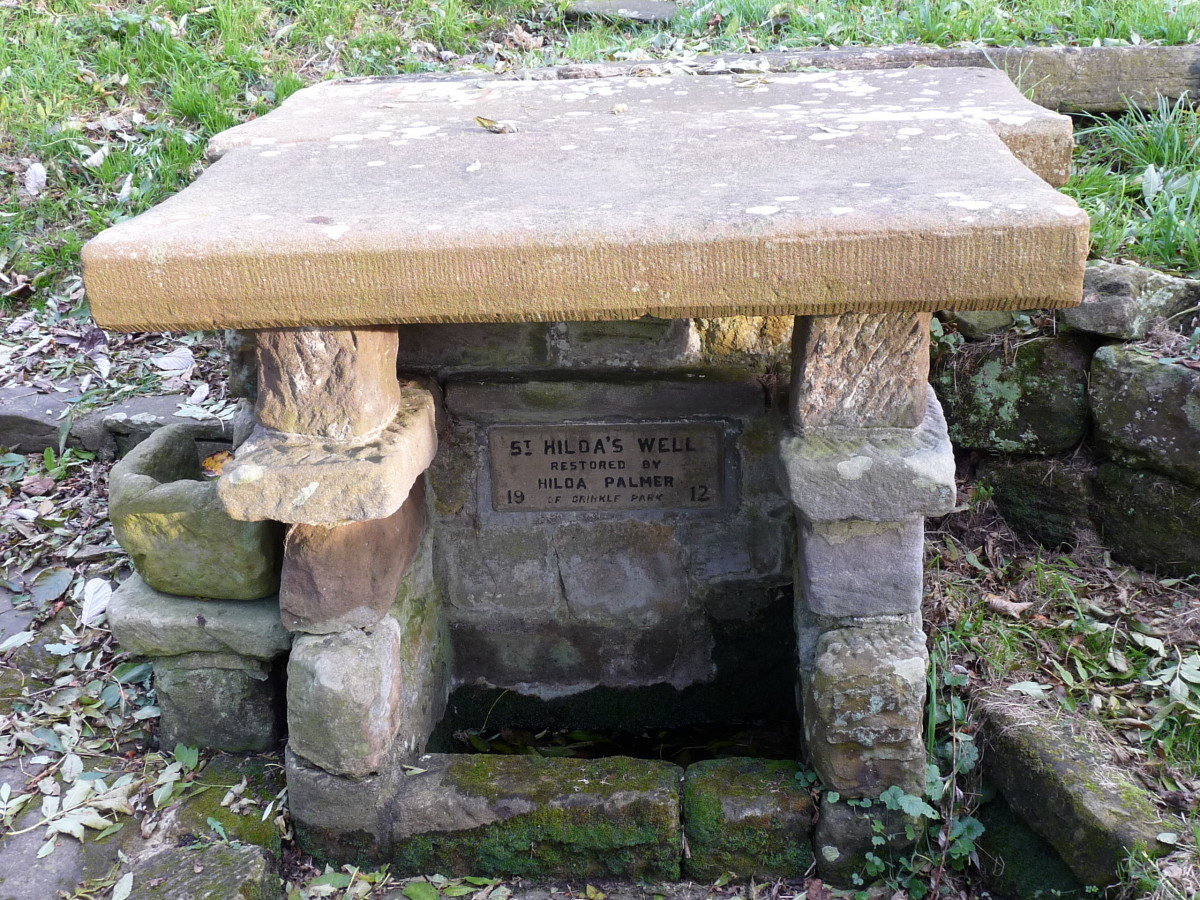 St Hilda's Well, 'Hildrewell' in the Domesday excerpt (top), considered to be where St Hilda miraculously tapped into a natural water source