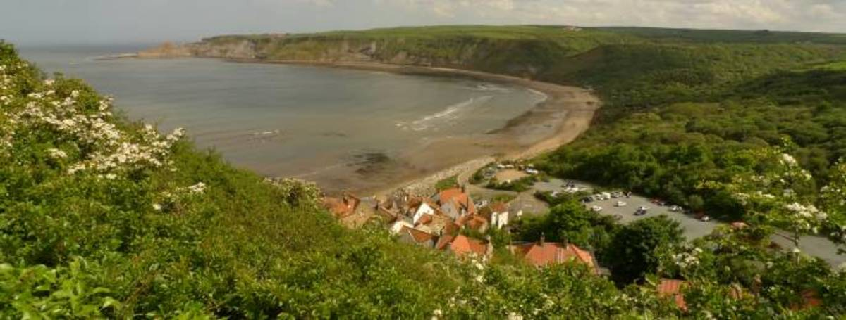 Runswick Bay along the coast from Staithes towards Whitby
