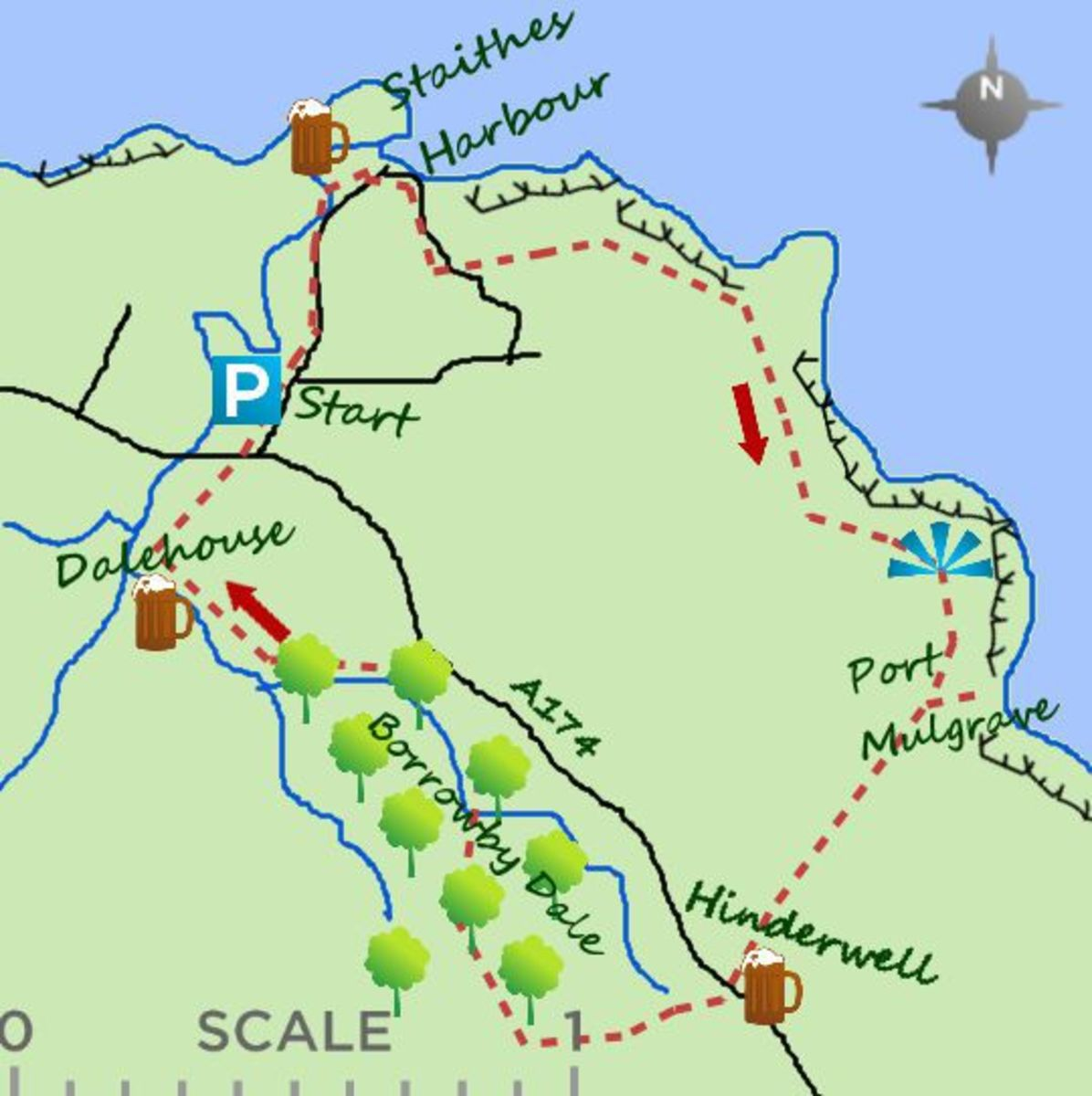 Hinderwell, Runswick, Port Mulgrave and Staithes walk route